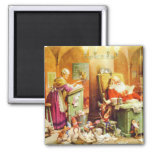 Santa and Mrs Claus Reading Mail at the North Pole 2 Inch Square Magnet