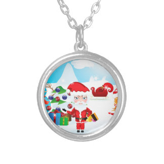Santa and Mrs Claus Round Pendant Necklace