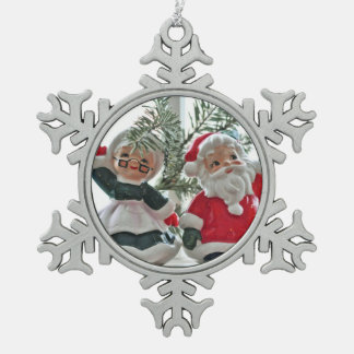 Santa and Mrs. Claus Snowflake Pewter Christmas Ornament