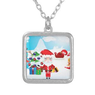 Santa and Mrs Claus Square Pendant Necklace