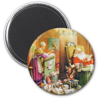 Santa and Mrs. Claus & the Elves at the North Pole 2 Inch Round Magnet