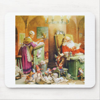 Santa and Mrs Claus the Elves at the North Pole Mousepad