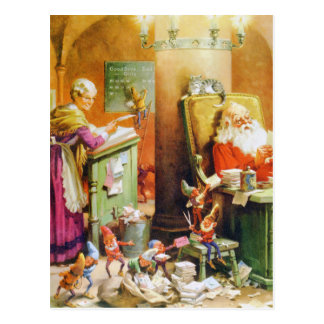 Santa and Mrs. Claus & the Elves at the North Pole Postcard