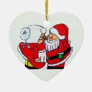 SANTA AND MRS. CLAUSE CHRISTMAS KISS ornament
