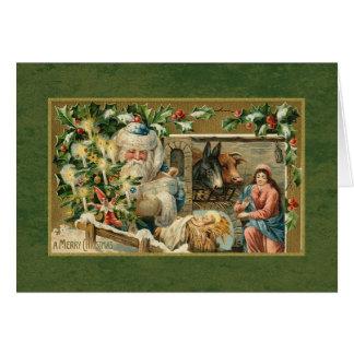 Santa and Nativity Scene Card