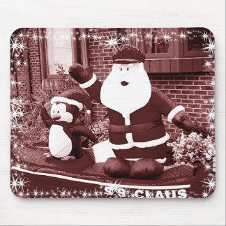 Santa and Penguin Friend Waving Mouse Pad