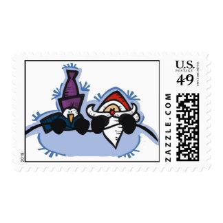 santa and penguin snow fun stamp