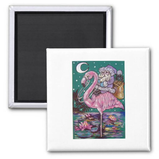 SANTA AND PINK FLAMINGO 2 INCH SQUARE MAGNET