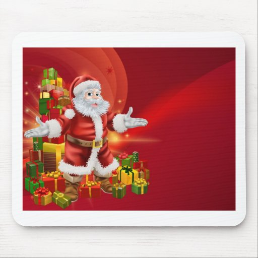 Santa and presents background mouse mat