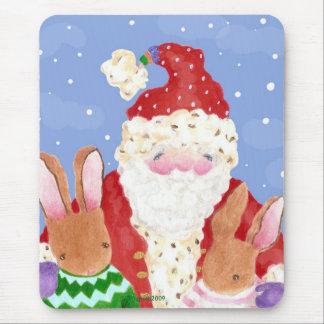 santa and rabbits in snow mouse pad