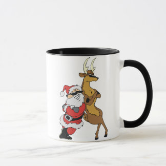 santa and raindeer mug