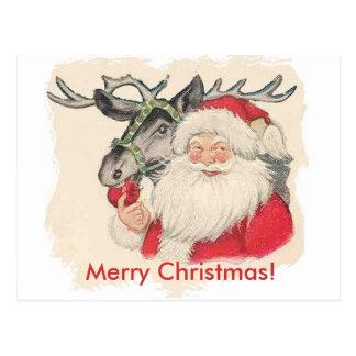Santa and Raindeer Postcard