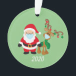 """Santa and Reindeer 2020 Face mask Covid Christmas Ornament<br><div class=""""desc"""">This design may be personalized in the area provided by changing the photo and/or text. Or it can be customized by choosing the click to customize further option and delete or change the color of the background, add text, change the text color or style, or delete the text for an...</div>"""
