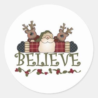 Santa and Reindeer Believe Round Stickers