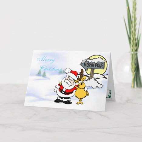Santa and Reindeer - Best Buddies, North Pole Holiday Card