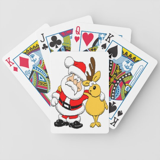 Santa and Reindeer Bicycle Playing Cards