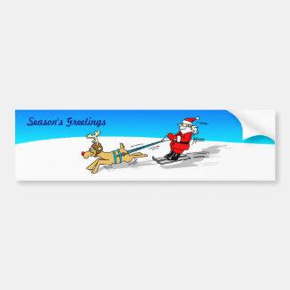 Santa and Reindeer Bumper Sticker Car Bumper Sticker