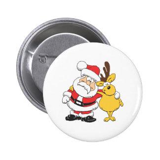 Santa and Reindeer Button