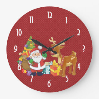 Santa and Reindeer by Christmas Tree with Presents Large Clock