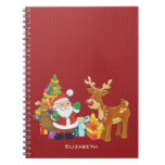 Santa and Reindeer by Christmas Tree with Presents Note Book