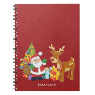 Santa and Reindeer by Christmas Tree with Presents Notebook