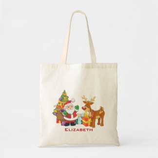 Santa and Reindeer by Christmas Tree with Presents Tote Bag