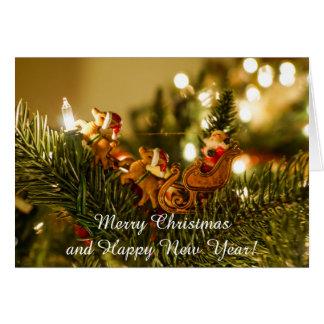 Santa And Reindeer Card