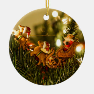 Santa And Reindeer Ceramic Ornament