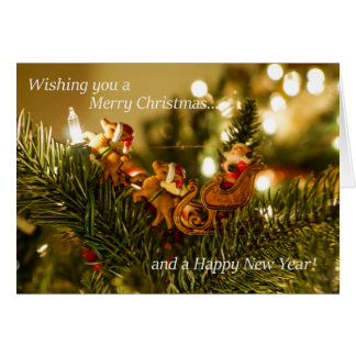 Santa and Reindeer Christmas Card