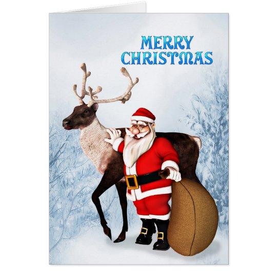 Santa and reindeer Christmas card for customers