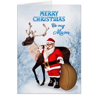Santa and reindeer Christmas card for mum