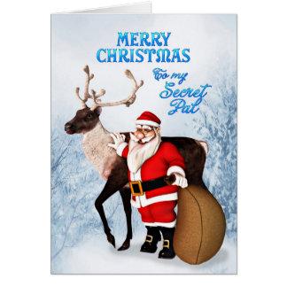Santa and reindeer Christmas card for secret pal