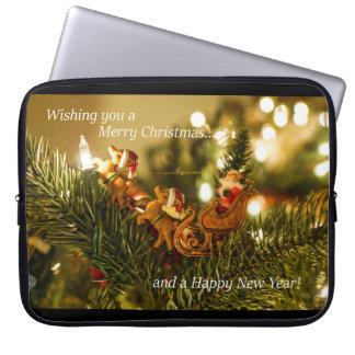 Santa and Reindeer Christmas Computer Sleeve