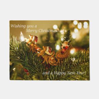 Santa and Reindeer Christmas Doormat