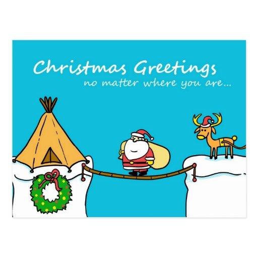 Santa and Reindeer Christmas Greeting Postcard