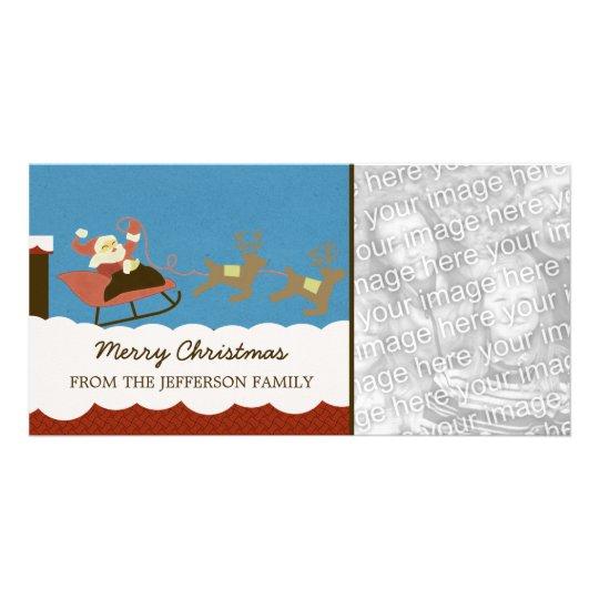 Santa and Reindeer Christmas Photo Card