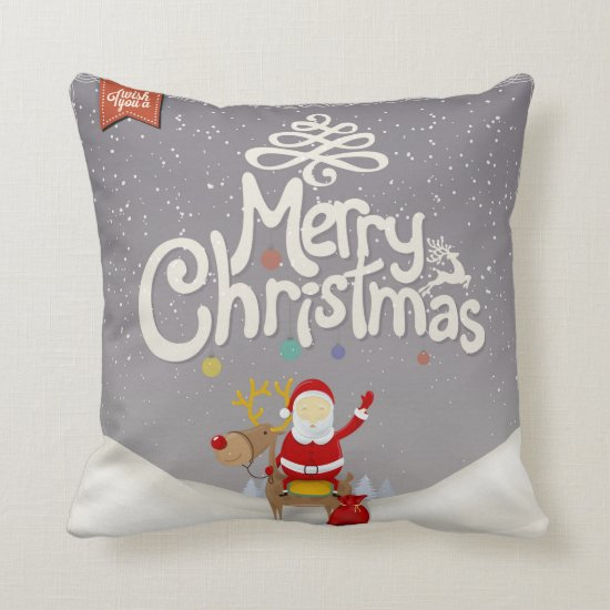 Santa and Reindeer Christmas Pillow