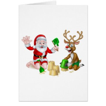 Beach Themed Santa and Reindeer Christmas Summer Beach Card