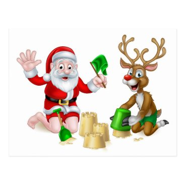 Beach Themed Santa and Reindeer Christmas Summer Beach Postcard
