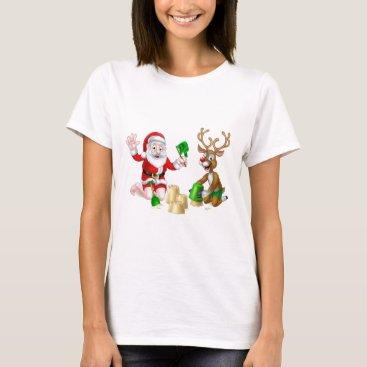 Beach Themed Santa and Reindeer Christmas Summer Beach T-Shirt