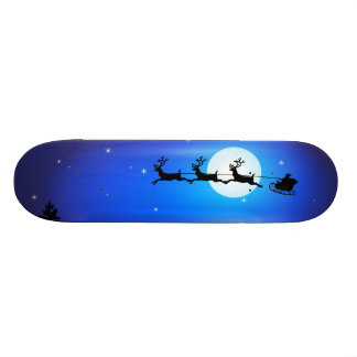 Santa and Reindeer Flying Across Blue Night Sky Skateboard