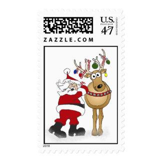 Santa and Reindeer Friend Christmas Stamp! Postage