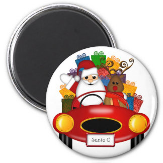 Santa and Reindeer in Red Sport Car Gifts Magnet