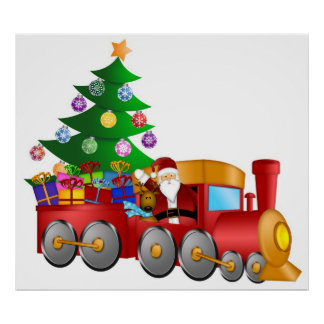 Santa and Reindeer in Red Train with Gifts Poster