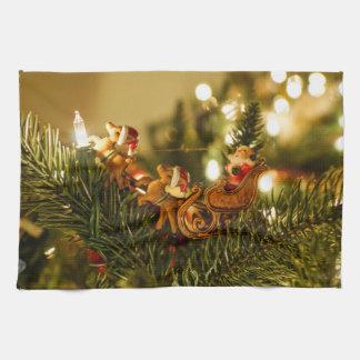 Santa And Reindeer Kitchen Towel
