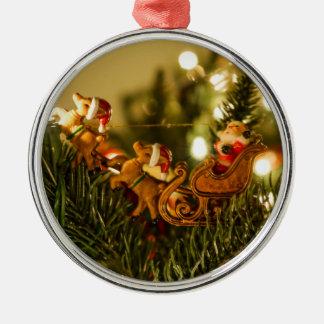 Santa And Reindeer Metal Ornament