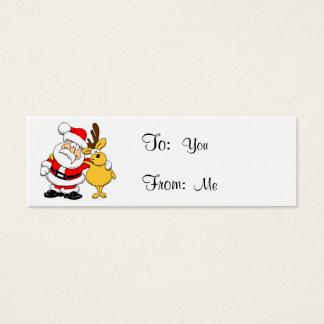 Santa and Reindeer Mini Business Card
