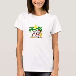 Santa and Reindeer on the Beach T-Shirt