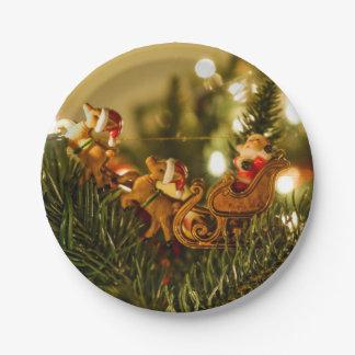 Santa And Reindeer Paper Plate