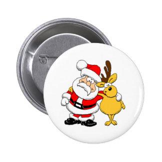 Santa and Reindeer Pinback Button